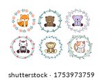 cute baby animal with floral...   Shutterstock .eps vector #1753973759
