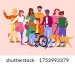 group of diverse happy smiling... | Shutterstock .eps vector #1753993379