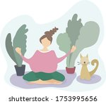 a young girl is engaged in...   Shutterstock .eps vector #1753995656