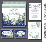 wedding invitations card with... | Shutterstock .eps vector #1754018936