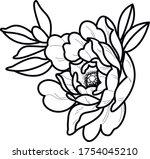 tattoo art peony vector floral...   Shutterstock .eps vector #1754045210