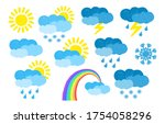 set of hand drawn weather icons ... | Shutterstock .eps vector #1754058296
