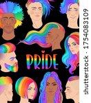 rainbow people. lgbt poster... | Shutterstock .eps vector #1754083109