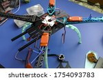 Build a homemade drone. Repair of radioelectronics and robotics. - stock photo