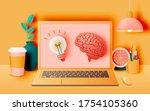 laptop on the desk in the house ...   Shutterstock .eps vector #1754105360
