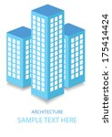 blue skyscrapers icons with... | Shutterstock .eps vector #175414424