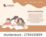 mother teaching her child... | Shutterstock .eps vector #1754152859