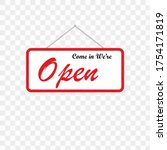 red sign sign we are open  with ...   Shutterstock .eps vector #1754171819