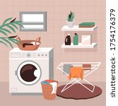 laundry room interior.... | Shutterstock .eps vector #1754176379