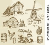 agriculture,architecture,background,barn,bowl,building,cabin,can,chicken,countryside,cow,demijohn,drawing,drawn,dutch
