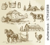 agriculture,architecture,background,barn,bowl,building,cabin,can,chicken,church,countryside,cow,drawing,drawn,dutch