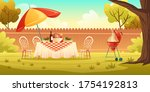 bbq party on backyard with... | Shutterstock .eps vector #1754192813