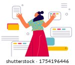 office worker sorts and moves...   Shutterstock .eps vector #1754196446