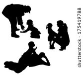vector silhouette of children... | Shutterstock .eps vector #175419788