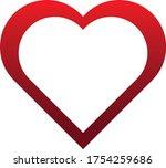 hollow heart in red vector | Shutterstock .eps vector #1754259686
