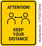 attention keep your distance... | Shutterstock .eps vector #1754272046