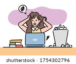 a business woman is holding her ... | Shutterstock .eps vector #1754302796