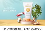 3d illustration of sunscreen ad ... | Shutterstock . vector #1754303990