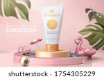 ad template for summer products ... | Shutterstock .eps vector #1754305229