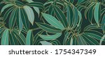 luxury gold orchid leaf and... | Shutterstock .eps vector #1754347349