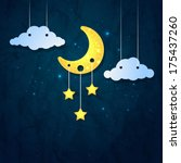 moon  clouds and stars. sweet... | Shutterstock .eps vector #175437260