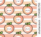cute peach fruit kawaii face... | Shutterstock .eps vector #1754381750
