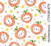 cute peach fruit kawaii face... | Shutterstock .eps vector #1754381879