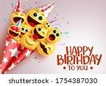 birthday smiley bouquet vector... | Shutterstock .eps vector #1754387030