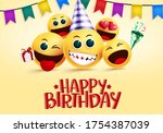 Birthday Smiley Emojis Vector...