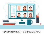 group of people doing video... | Shutterstock .eps vector #1754392790