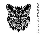 tribal fox head tattoos animal... | Shutterstock .eps vector #1754395040