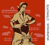 Soviet Milkmaid Pouring Buckets ...