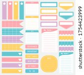 cute paper notes in sweet color ... | Shutterstock .eps vector #1754423999