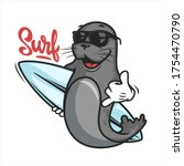 cartoon seal with surf board... | Shutterstock .eps vector #1754470790
