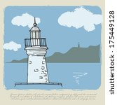 lighthouse. sea view. vintage... | Shutterstock .eps vector #175449128