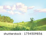 small grass hill in the fresh... | Shutterstock .eps vector #1754509856