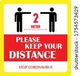 keep the distance sign  vector...   Shutterstock .eps vector #1754573429