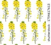 pattern rape flowers and leaves ...   Shutterstock .eps vector #1754617613