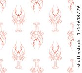 Seamless Pattern With Lobsters...
