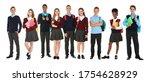 children in school uniforms on... | Shutterstock . vector #1754628929