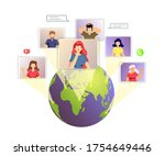 planet and people talking by... | Shutterstock .eps vector #1754649446