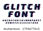 glitch font. letters and... | Shutterstock .eps vector #1754677613