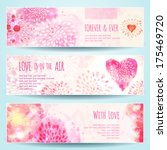Watercolor Banners With Hearts...