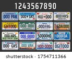 usa vehicle registration plates ... | Shutterstock .eps vector #1754711366