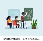 team makes a study on business...   Shutterstock .eps vector #1754735363