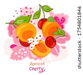 fresh  bright whole and halved... | Shutterstock .eps vector #1754801846