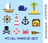 pixel art marine isolated... | Shutterstock .eps vector #175497950