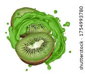 two halves of kiwi and a green... | Shutterstock .eps vector #1754993780