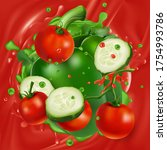 tomatoes  cucumber and pepper... | Shutterstock .eps vector #1754993786