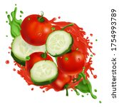 cherry tomatoes and cucumber... | Shutterstock .eps vector #1754993789
